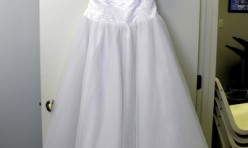 White Halter with Bodice Beading Size 16