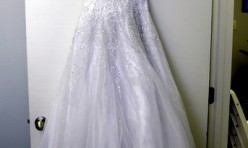 White Beaded Gown with Spaghetti Straps Size 2