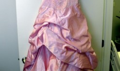 Pink Gown with Gathered Satin Skirt Size 6