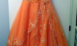 Orange Gown with multi-layer skirt Size 12