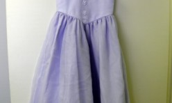 Lavender Girl's Dress with Mock Flower Buttons Size Youth 6