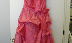 Coral Halter dress with Skirt gathers and Detail Bow Size 10