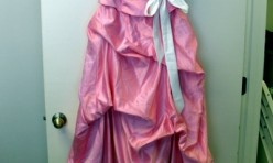 Pink Strapless Dress with Skirt Gathers and White ribbon Size 8