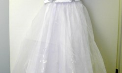 White Girl's Dress with Satin Top and Sheer Skirt Size Youth 10