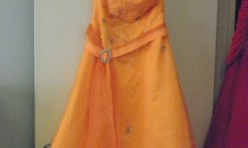 Orange Tea Length Gown with beading and sash/belt Size Youth 16