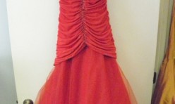 Red gown with ruched sides and netted skirt Size 4