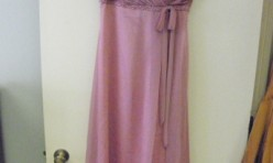 Rosy Purple Gown with detail bust, spaghetti strap Size 12