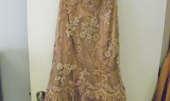 Bronze Gown with Lace overlay, netted skirt Size 6