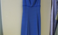 Periwinkle Gown with beaded trim, flowy skirt Size 6