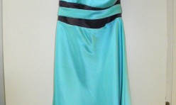 Teal knee length with spaghetti straps, brown waistband and teal sash Size 14