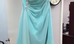 Mint green strapless knee-length with jeweled detail - size 12